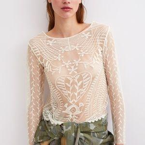 Zara semi sheer embroidered top